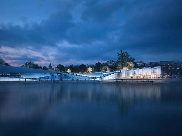 Vue depuis Jambes (esplanade et port numérique) © Duchene - Degraeve - Nonet