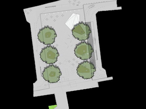 Plan de masse - maintien des 6 arbres
