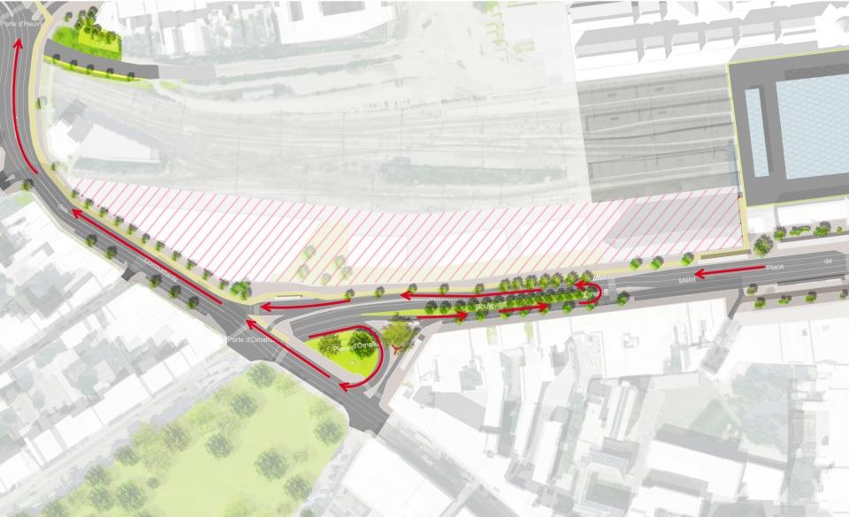 Schéma du report de trafic de transit