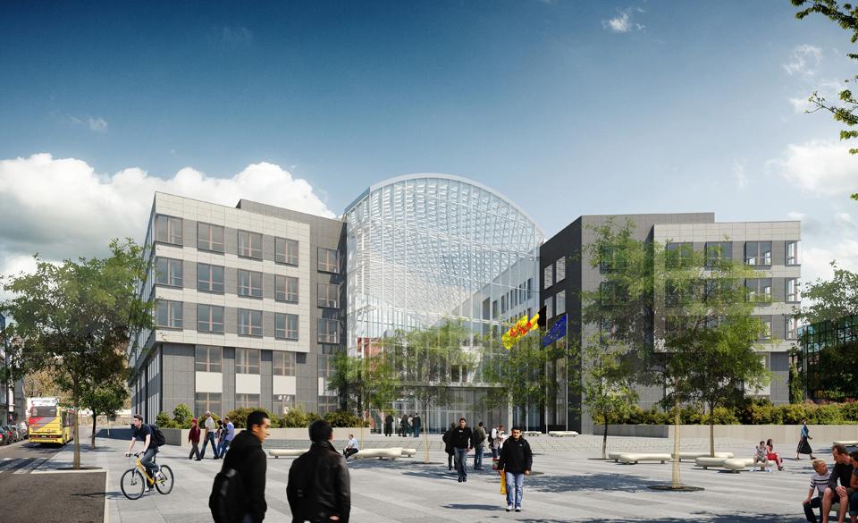 Futur Palais de Justice vu depuis la rue Jean-Baptiste Brabant (Genval architecture)