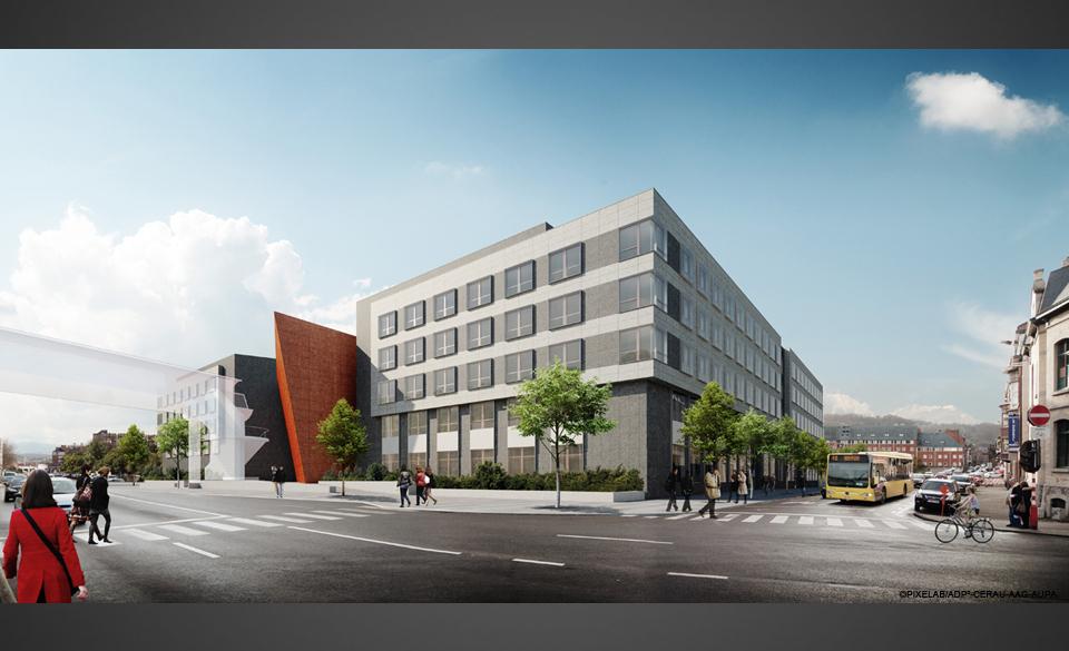 Futur Palais de Justice - vue depuis le Boulevard Cauchy (Genval architecture)